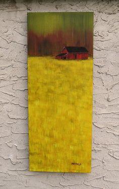 Green Sky, Red Barn 16 x 40 original acrylic painting on artist canvas
