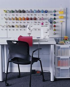 PEGBOARD!  spray painted to match your decor, is easily adaptable for myriad storage  solutions. Consider using it to hang thread, rulers, or even some basic sewing  tools, such as scissors, rotary cutters and a tape measure.