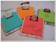 I have a love for coasters and sticky notes. sticky note holders - make using coaster, binder clips & scrapbook paper & ribbon Kids Crafts, Cute Crafts, Crafts To Make, Craft Projects, Teacher Appreciation Gifts, Teacher Gifts, Student Gifts, Volunteer Appreciation, Craft Gifts
