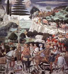 Benozzo Gozzoli -The Procession of the Magi, left-hand wall, Florence