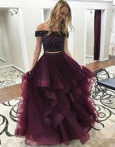 Princess Prom Dresses, Two Piece Off-the-Shoulder Tiered Maroon Tulle Prom Dress with Beading, Plus Size Formal Dresses and Plus Size Party Dresses are great for your next special Occassion at cheap affordable prices The Dress Outlet. Cute Prom Dresses, Tulle Prom Dress, Pretty Dresses, Homecoming Dresses, Beautiful Dresses, Party Dress, Graduation Dresses, Prom Party, Party Gowns