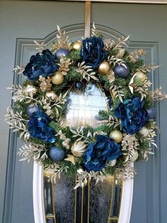 Your place to buy and sell all things handmade Your place to buy and sell all things handmade Christmas Wreath / NAVY BLUE and GOLD Wreath / Hanukkah Wreath / Peony Wreath / Christmas wreath for front door / Elegant Wreath / Peonies<br> Blue Christmas Tree Decorations, Christmas Wreaths For Front Door, Gold Christmas Tree, Christmas Centerpieces, Holiday Wreaths, Christmas Themes, Christmas Holidays, Christmas Crafts, Handmade Christmas