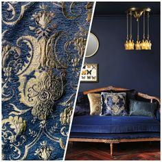 Italian Interior Design, Gold Interior, Beautiful Interior Design, Beautiful Interiors, Blue Gold, Metallic Gold, Cottage Living Rooms, Damask Wallpaper, Yellow Fabric