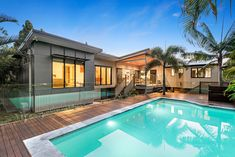 The design for this renovation and extension in Seventeen Mile Rocks includes an improved streetscape & pool entertainment area at the rear of the home. Above Ground Pool, In Ground Pools, Entertainment Area, House Extensions, Woodland Party, Outdoor Areas, Outdoor Entertaining, Decks, Seventeen