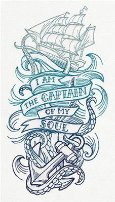 I Am the Captain of my Soul--Embroidered Decorative White Cotton Tea Towel, Linen Towel, or Fingertip Towel by BACustomEmbroidery on Etsy