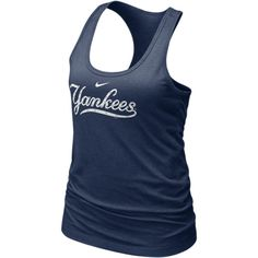 Nike Bling (MLB Yankees) Women's Tank Top - Navy, ($28) ❤ liked on Polyvore featuring tops, shirts, navy blue shirt, graphic shirts, graphic tank tops, yankees shirt and graphic tanks