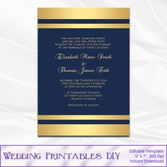 DIY navy and gold wedding invitation template comes as an editable and high-quality (300dpi) file, for perfect printing results at home or at a printing services like Office Max, Staples or Office Depot. * NOTE: This is design with navy and faux gold foil background and it supposed to be printed on a WHITE card stock. For best printing result, avoid printing this template on a textured paper. Edit text yourself, just type over the sample text. Text is completely EDITABLE. You can change…