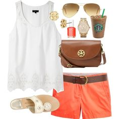 White tank top, Orange shorts with belt, cream sandals. Orange ish pinkish nil polish and Starbucks. Michael Kors watch is super cute and Tory burch earrings are a must have for this outfit. The purse if perfect! Chestnut colour of the purse with gold accent.