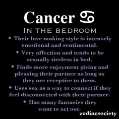 Zodiac Society - Cancerian in the bedroom.