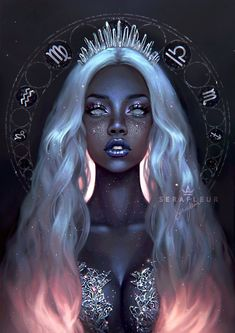 Goddess of South Constellation - Ceres 🖤 Some of you might know her already! I haven't drawn my OC again ever since I made her 2 years ago, and now that I'm making the Asteria Realm artbook I finally took time to paint Ceres ✨ Ceres' guardians Arte Digital Fantasy, Fantasy Kunst, Digital Art Girl, Dark Fantasy Art, Virgo Art, Zodiac Art, Black Love Art, Black Girl Art, Dibujos Tumblr A Color