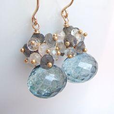 Teal Gray Cluster Earrings 14k Gold Fill Moonstone