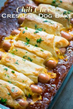 Game Day Super Bowl Chili Cheese Crescent Dog Bake Appetizers. These chili cheese hot dogs are wrapped in crescent roll and baked appetizer for parties!