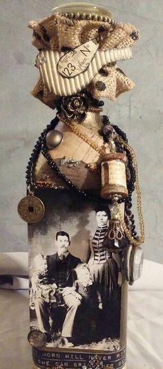 Altered embellished art bottle with vintage by SophisticatedGlitz