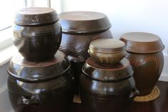 """These crocks are called """"onggi"""" which means """"Korean earthenware"""" and technically includes the entire range of Korean pottery, tableware, and tools mad Kitchen Tools, Kitchen Gadgets, Kitchen Appliances, Earthenware, Stoneware, Korean Pottery, Fermentation Crock, Korean Kitchen, Korean Dishes"""