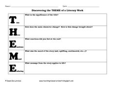 This is a graphic organizer that I created to guide my students using the Acronym: T.H.E.M.E. to help them clarify their thinking and uncover the t...