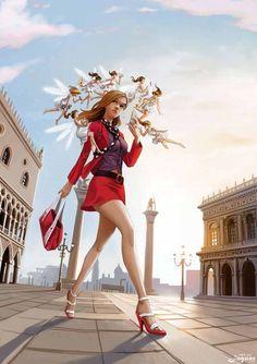 Walkin Angels By Artjaguar Jaguar Red Suit Cg Art Illustration Girl Anime