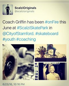 #CoachGriffin has been #onFire this June at #ScalziSkatePark in @CityofStamford. #skateboard #youth #coaching #socialentrepreneurship #risetogether