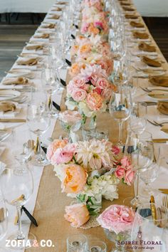 rustic chic tablescape in ivory, peach, cream, pinks and silvery greys by Soiree Floral. Photo by Zofia & Co