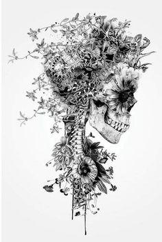 Impression d'art graphique «Floral Skull Series: Skull B&W Floral Skull Tattoos, Skull Tattoo Flowers, Flower Skull, Skull Tattoo Design, Pretty Skull Tattoos, Skull Sleeve Tattoos, Skull Drawing With Flowers, Skull Finger Tattoos, Feminine Skull Tattoos