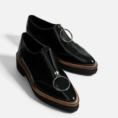 Image 3 of LEATHER BLUCHERS WITH RING PULL-TAB from Zara