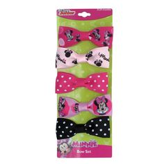 """mm1182-NJ - Minnie Mouse 5 on card 1"""" bows on fabric covered salon clips (Available Now)"""