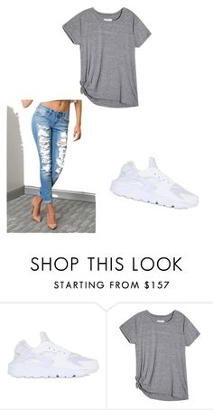 """air huarache outfit"" by chastygarcia ❤ liked on Polyvore featuring NIKE"