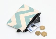 Coin purse blue zipper pouch padded change wallet  by JadenDesign, $8.00