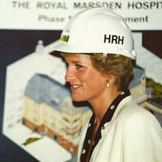 16 June 1990: Princess Diana wears a hard hat for the topping-out ceremony of new clinics at The Royal Marsden Hospital in Fulham, South West of London.