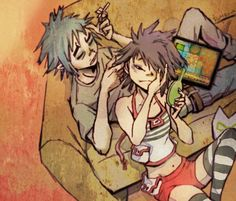 Noodle and 2-D| AWW look 2D's playing with her hair