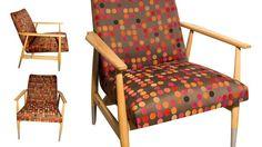 Klasyczny fotel z czasów PRL, model 300–190 projektu Hanny Lis, z nową włoską tapicerką po całkowitej renowacji,drewno trzykrotnie powoskowane.
