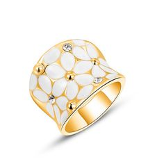 2017 New Fashion Crystal Flower Drop Oil Finger Ring Gold /Silver /Rose Gold Color Enamel Flower Women's Party Jewelry Gift #Affiliate