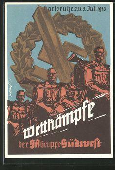 old postcard: Künstler-AK Karlsruhe, Wettkämpfe der SA-Gruppe Südwest 1938, Eichenlaubkranz mit Hakenkreuz