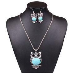 Charm bib statement  blue Owl turquoise beads chunky necklace earrings bracelet #Handmade #Choker