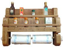 Rustic wooden spice rack with rope kitchen towel holder large size.