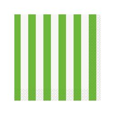 Lime Green Stripe Beverage Napkins 16ct| Wally's Party Supply Store