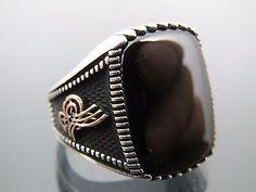 Turkish Handmade Ottoman Style 925 Sterling Silver Onyx Stone Men's Ring Sz 9