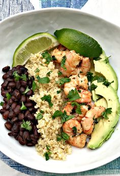 Mediterranean Salmon Bowl - a healthy salmon recipe that is easy, full of flavor, super satisfying and ready in less than 30 minutes! This healthy dinner recipe can easily be made keto and low carb and comes with a meal prep option Seafood Recipes, Mexican Food Recipes, Dinner Recipes, Cooking Recipes, Lime Shrimp Recipes, Cilantro Lime Shrimp, Shrimp Avocado, Healthy Meal Prep, Healthy Snacks