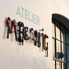 great signage: Atelier Mecanic (Mechanical Workshop) - Designed by Corvin Cristian Atelier Loft, Garage Atelier, Paleterias Ideas, Shop Ideas, Typography Inspiration, Design Inspiration, Design Ideas, Unique Cafe, Mechanical Workshop