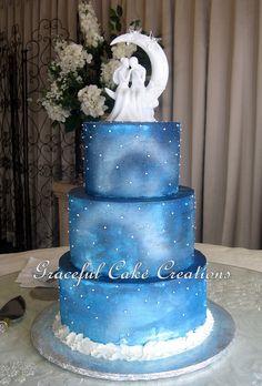 https://flic.kr/p/CrWScE | Elegant Starry Night Christmas Wedding Cake