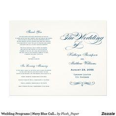 "Wedding Programs | Navy Blue Calligraphy Design 8.5"" X 11"" Flyer"