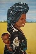 'Mother And Child' - Patrick W. Hunt, Jamaican artist.  He works with oils, acrylics and water colors. The paintings are stylistically distinctive and rooted in his West Indian/African background. His paintings are representative of his understanding of world cultures.