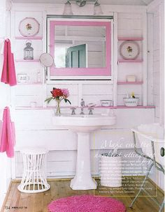 shabby white and pink bathroom House Design Photos, Cool House Designs, Masculine Bathroom, Small Bathroom, Pink Bathrooms, Bathroom Ideas, Bathroom Storage, Cozy Bathroom, Vintage Bathrooms