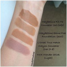 All of my concealers swatched together: Maybelline Fit Me, NYX HD ...