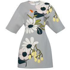 Marni Neoprene Floral Dress (92,770 DOP) ❤ liked on Polyvore featuring dresses, light blue short sleeve dress, neoprene dress, floral printed dress, floral print dress and flower print dress