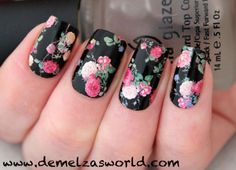 Very intricate flower design that seems very challenging can be easily done with Konad stamper, Konad scraper, Konad image plate and any nail polish.
