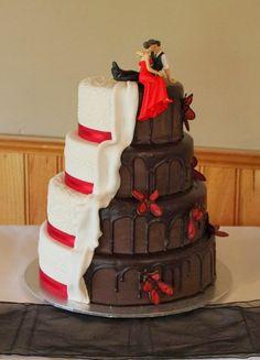 White and dark wedding cake