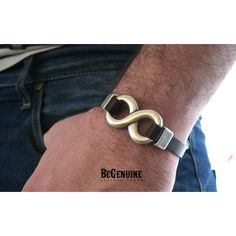 Mens Infinity bracelet Leather Cuff Gift for Men Fiancé Gift Mens... (38 CAD) ❤ liked on Polyvore featuring men's fashion, men's jewelry, men's bracelets, mens bracelets, mens leather cuff bracelets and mens watches jewelry