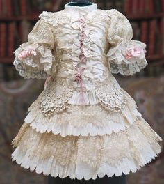 "Very Beautiful Antique Silk & Needlepoint Lace Couturier Dress for doll about 22-23"" (56-59 cm)"