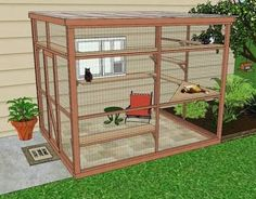 "A catio, an outdoor cat enclosure or ""cat patio,"" is the purrfect solution to solve the indoor/outdoor dilemma and keep your cat safe, healthy and happy. Diy Cat Enclosure, Outdoor Cat Enclosure, Cat Cages, Cat Run, Outdoor Cats, Outdoor Cat Habitat, Outdoor Cat House Diy, Outdoor Cat Cage, Outdoor Sheds"