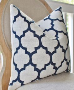 Decorative Blue Pillow Cover Blue Ivory by MotifPillows on Etsy